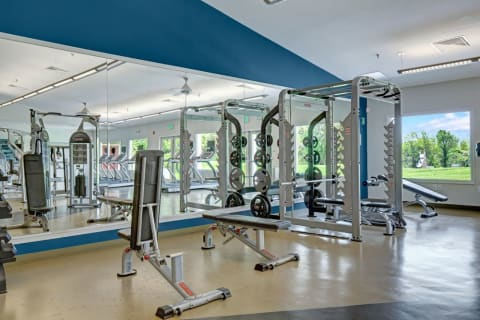 Apartments for Rent in Landover MD - The Villages at Morgan Metro Fitness Center with Mirrored Walls, Weight Machines, and Various Cardio Equipment