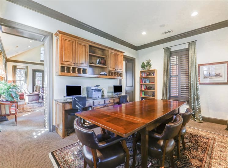 Business center and conference area Saddle Brook Apartments in North Dallas, TX, For Rent. Now Leasing 1, 2 and  3 bedroom apartments.