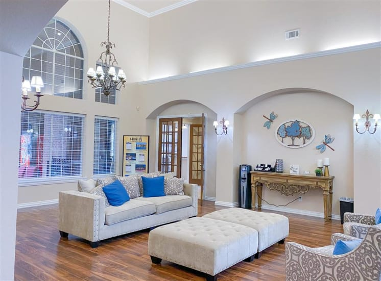 Coffee Bar and community front foyer at Gates de Provence in North Dallas, TX.