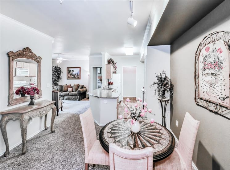 Breakfast nook and pass-through kitchen in North Dallas, TX at Gates de Provence.