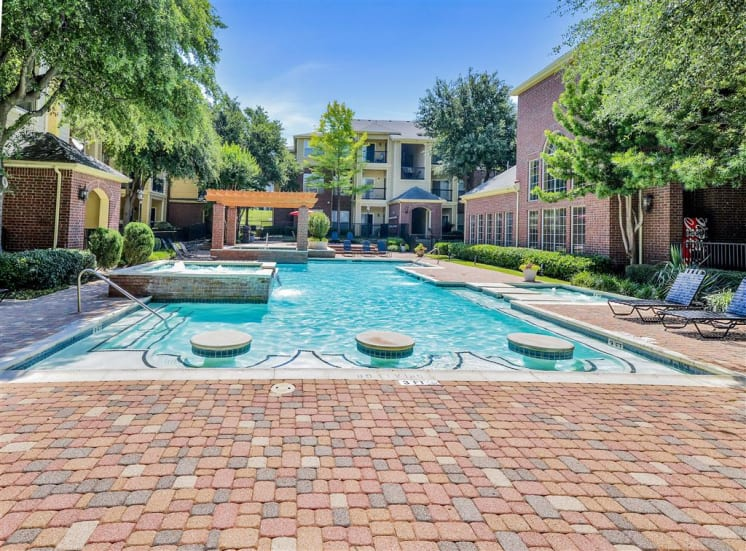Cool off in pool seating at Gates de Provence, Now Leasing.