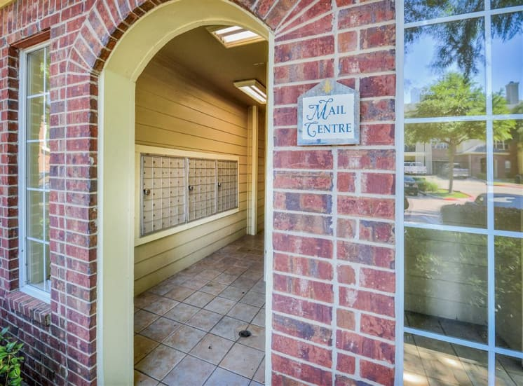 Mail center at Gates de Provence Apartments for rent in North Dallas, TX. Community
