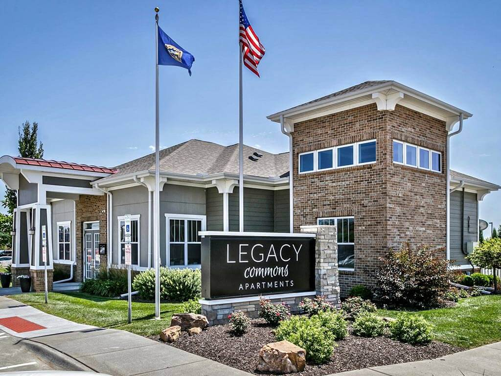 Entrance with Architectural Details at Legacy Commons, Omaha