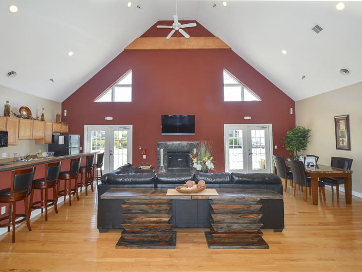 Clubhouse with Fireplace and Vaulted Ceilings