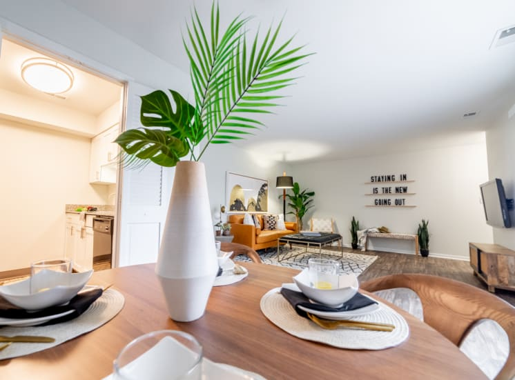 Dining Table With Dishes at Governor Square Apartments, Carmel