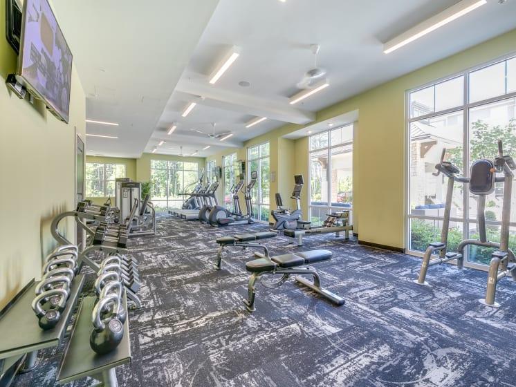 Spacious Fitness Center at The Flats at Ballantyne Apartments, Charlotte, North Carolina