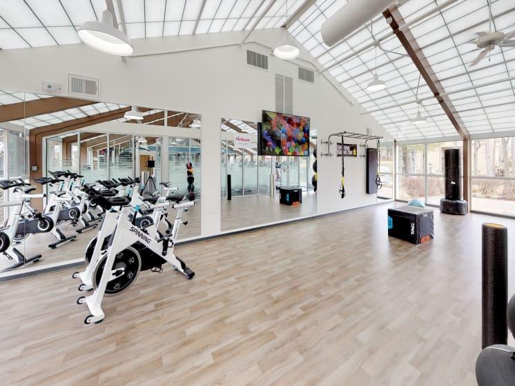 Fitness Center, Yoga studio, spin studio at Stuart Woods Apartments, Herndon VA, 20170