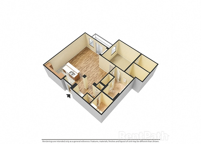 The Porter Brewers Hill_Baltimore_MD_Floor Plan F_One Bedroom One Bathroom