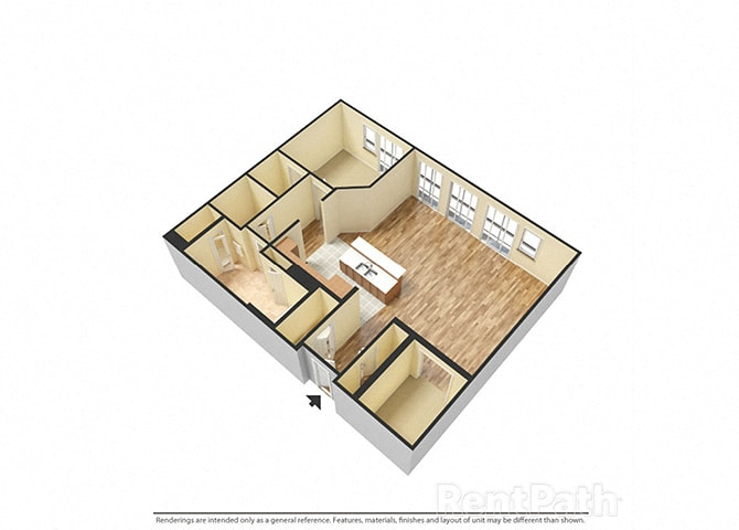 The Porter Brewers Hill_Baltimore_MD_Floor Plan I_One Bedroom One Bathroom