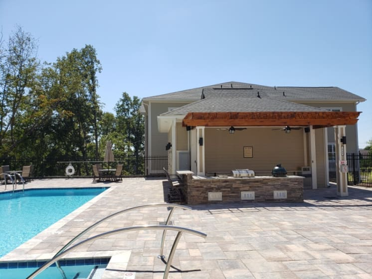 poolside cabana and grilling area