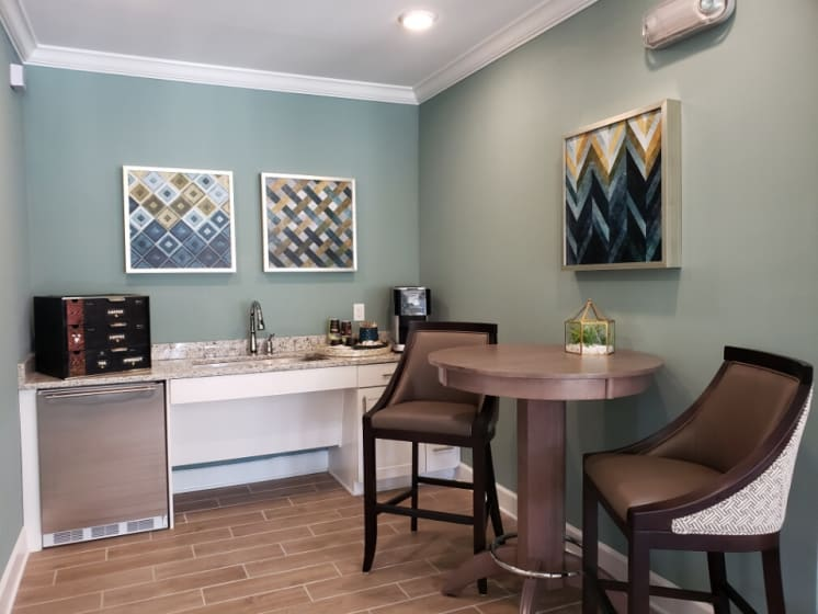 coffee bar in clubhouse