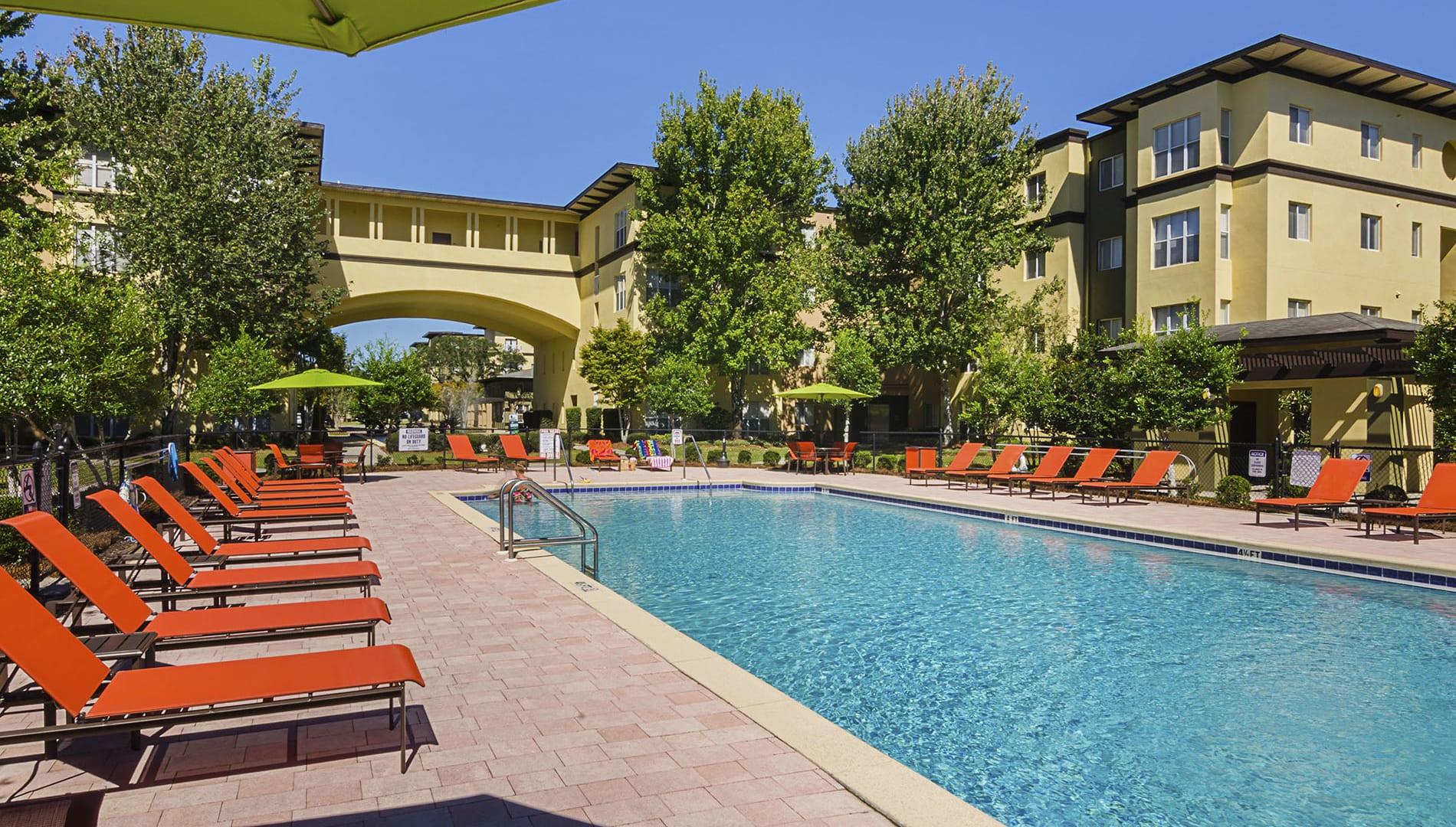 Poolside View at Chez Elan Fine Apartment Homes in Fort Walton Beach, Florida, FL