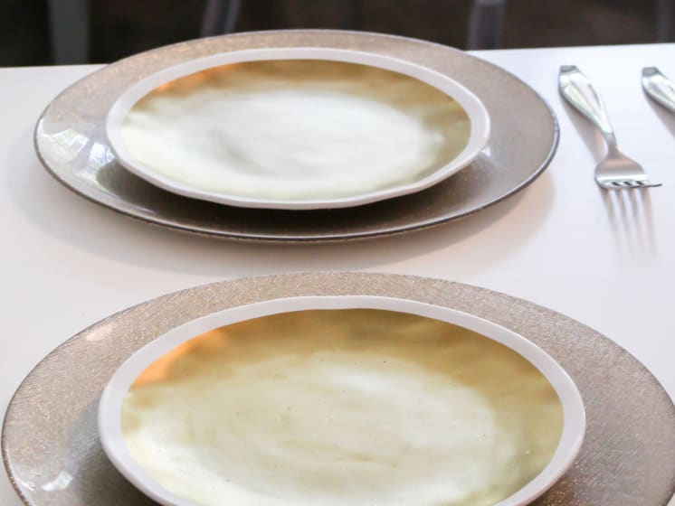 Two plates on table