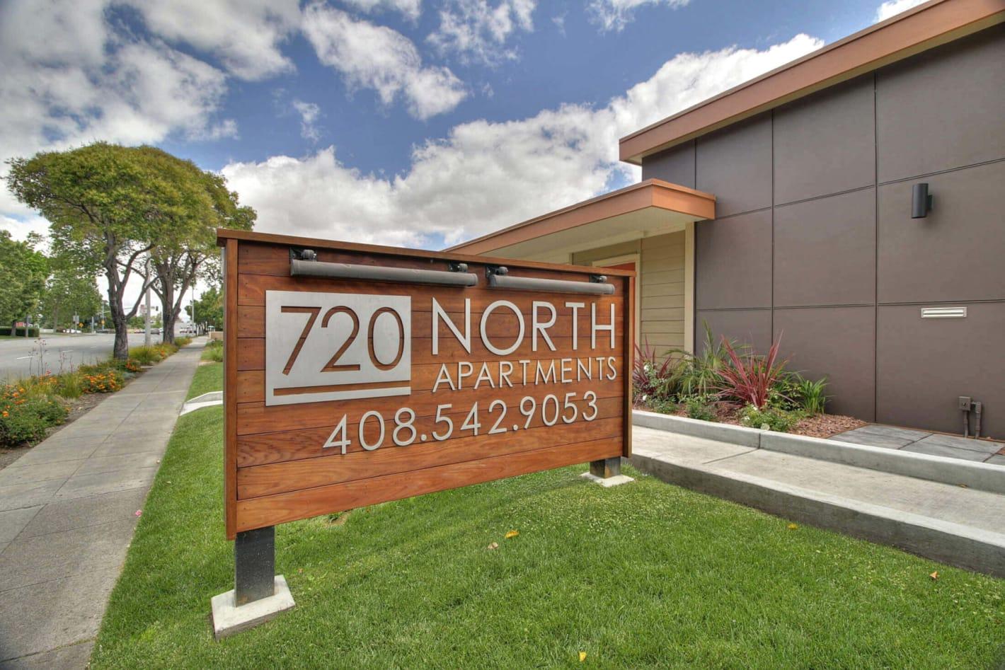 720 North Apartments sign at entrance, CA