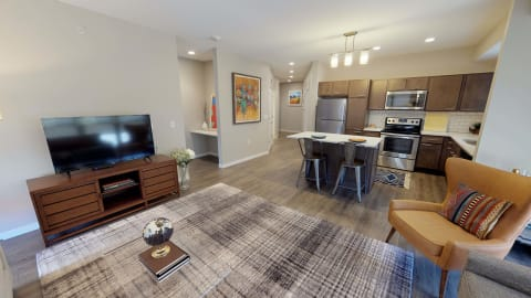 Timber floor plan living area