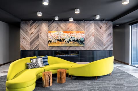 Lobby and Sitting Area at Confluence on 3rd Apartments in Downtown Des Moines