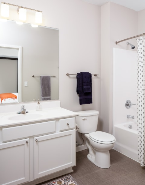 Bathroom at Confluence on 3rd Apartments in Downtown Des Moines