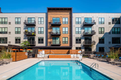 Outdoor Pool at Confluence on 3rd Apartments in Downtown Des Moines