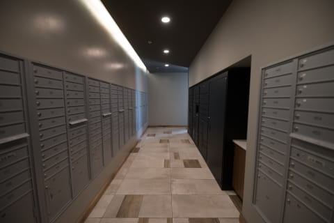 Package Delivery Lockers at Confluence on 3rd Apartments in Downtown Des Moines