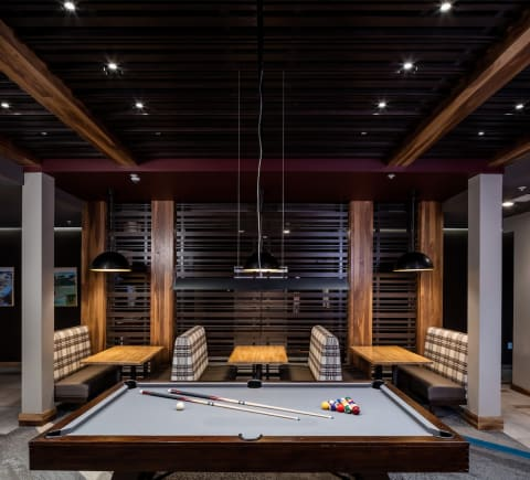 Pool and Club Room at Confluence on 3rd Apartments in Des Moines in Downtown Des Moines