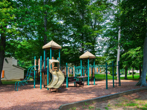 Apartments for Rent in Landover - The Villages at Morgan Metro Shaded Playground Featuring Slides and Monkey Bars and Surrounded by Trees