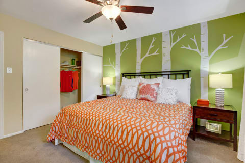 Three Bedroom Apartments in Landover MD - The Villages at Morgan Metro Bedroom with Modern Paint, Spacious Closet, and Wall to Wall Carpeting