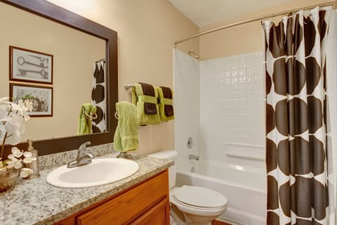 Landover Apartments - The Villages at Morgan Metro Bathroom with Large Shower and Tub, Spacious Countertop, and Ample Storage Space