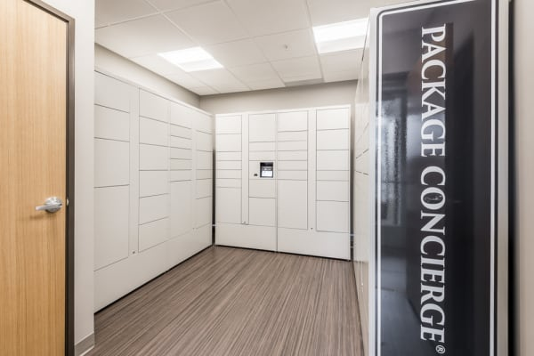 Package room lined with individual lockers