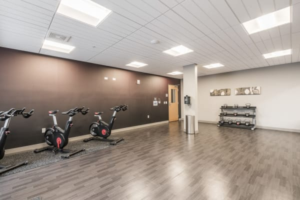 Yoga studio with wood floor, free weights, and spin bikes