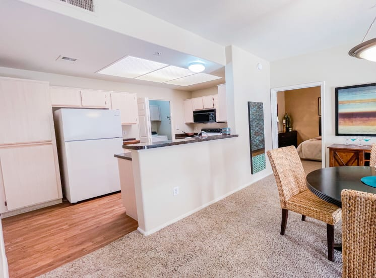 Open kitchen at Ventana Apartment Homes in Central Scottsdale, AZ, For Rent. Now leasing 1 and 2 bedroom apartments.