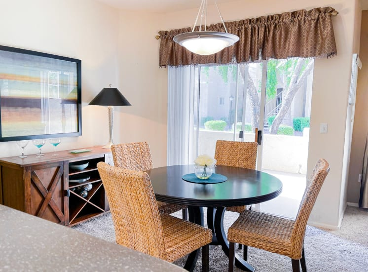 Dining area at Ventana Apartment Homes in Central Scottsdale, AZ, For Rent. Now leasing 1 and 2 bedroom apartments.
