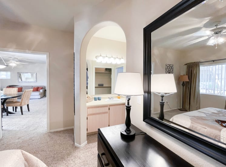 Mirrored vanity at Ventana Apartment Homes in Central Scottsdale, AZ, For Rent. Now leasing 1 and 2 bedroom apartments.