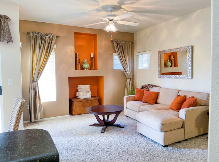 Open living rooms at Ventana Apartment Homes in Central Scottsdale, AZ, For Rent. Now leasing 1 and 2 bedroom apartments.