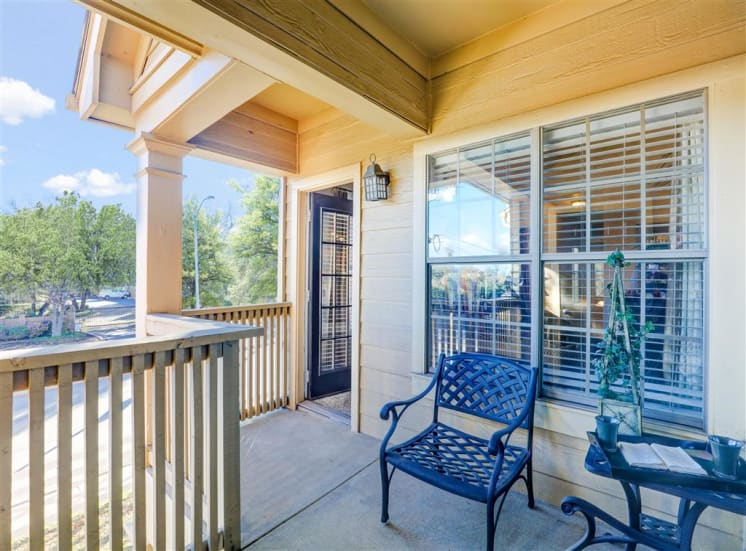 Porch patio of Saddle Brook Apartments in North Dallas, TX, For Rent. Now Leasing 1, 2 or 3 bedroom apartments.
