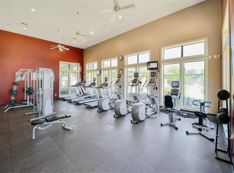 Huge fitness center at Cypress Lake at Stonebriar Apartments in Frisco, TX, For Rent. Now leasing 1, 2 and 3 bedroom apartments.