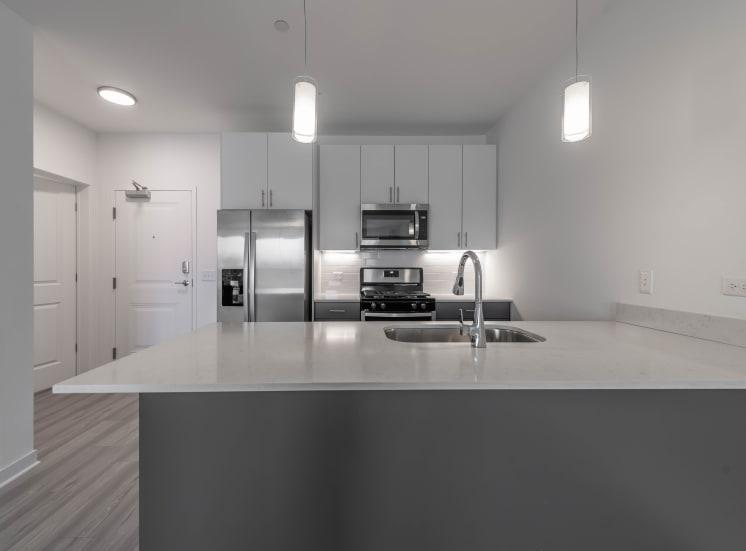Quartz Counters with Subway Tile Backsplash