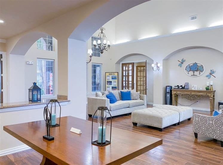 Tall ceilings and resort amenities at Gates de Provence. Now leasing 1, 2 and 3 bedroom apartments.