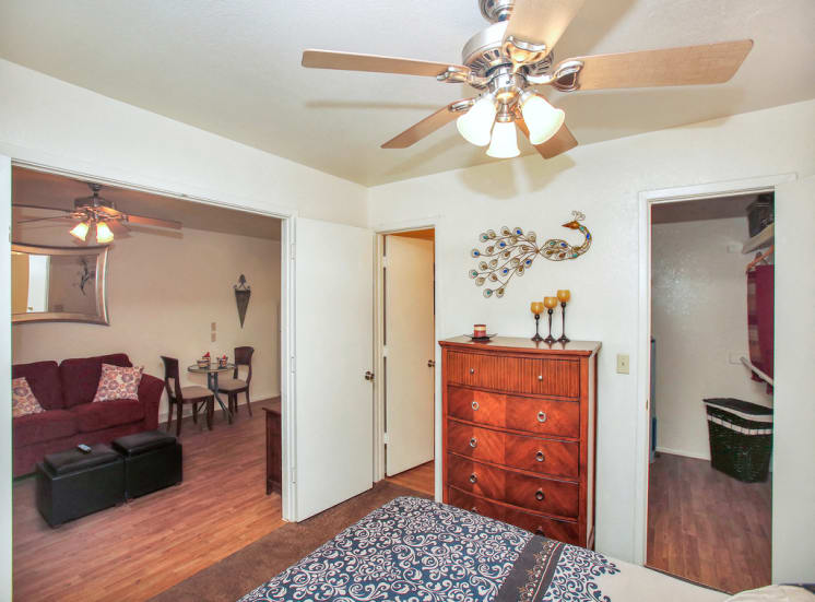 Walk-in closets at La Hacienda Apartments in Tucson, AZ, For Rent. Now leasing 1 and 2 bedroom and studio apartments.