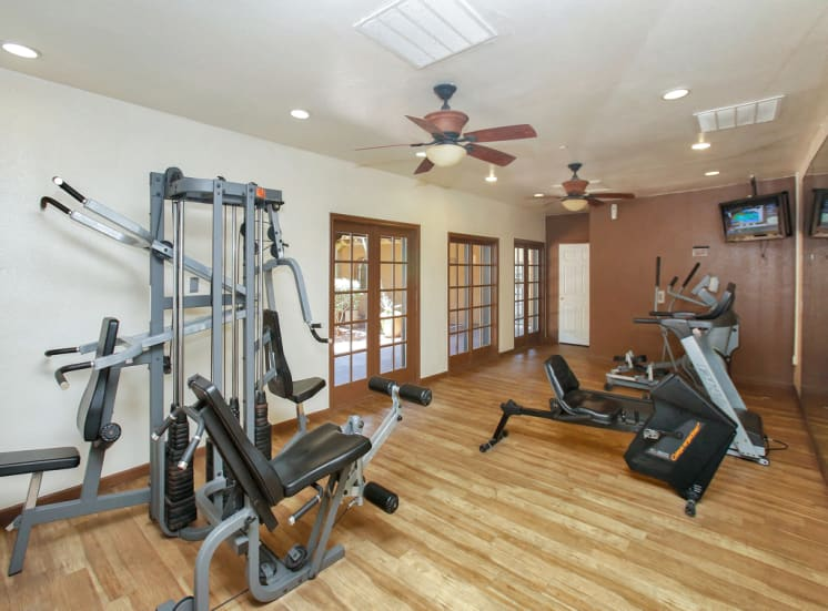Fitness center with weight and cardio training at La Hacienda in Tucson, AZ.