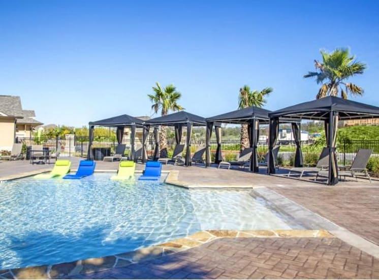 Shaded Lounge Area by Pool at Arrington Ridge, Texas, 78665