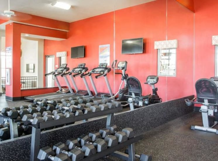 Free Weights Rack in Fitness Center at Arrington Ridge, Texas, 78665