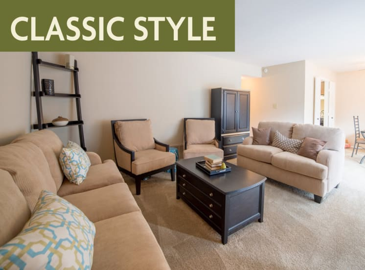 Classic style open layout banner at Governor Square Apartments, Carmel, IN