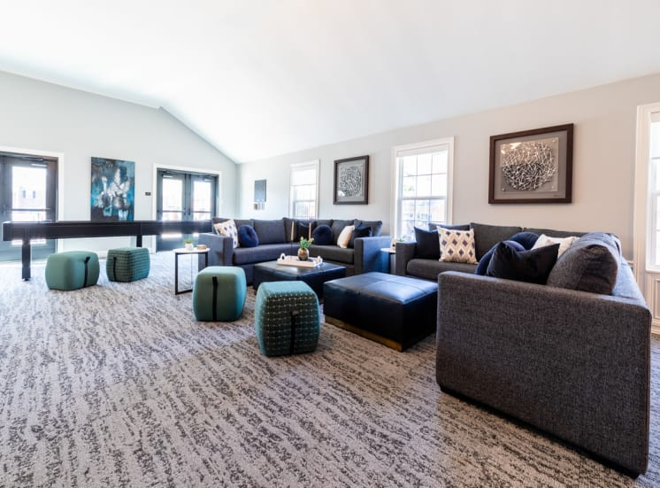 Lounge space in clubhouse at Governor Square Apartments, IN, 46032
