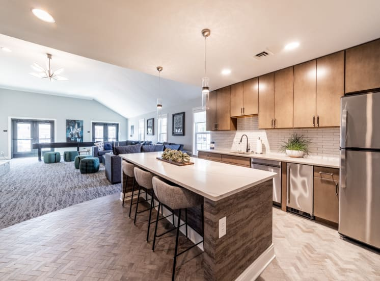 Full kitchen in clubhouse at Governor Square Apartments, 1825 Jefferson Drive W, 46032