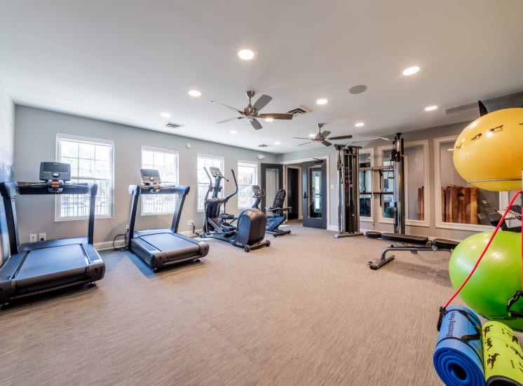 Cardio equipment in fitness center at Governor Square Apartments, IN, 46032