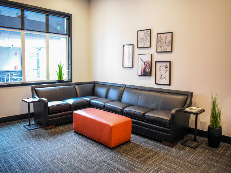 Game Room with Leather Couch at Manor Way, Everett