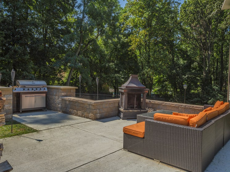 bbq area with fire and couch area