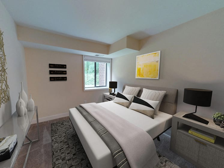 bedroom interior with contemporary decorations