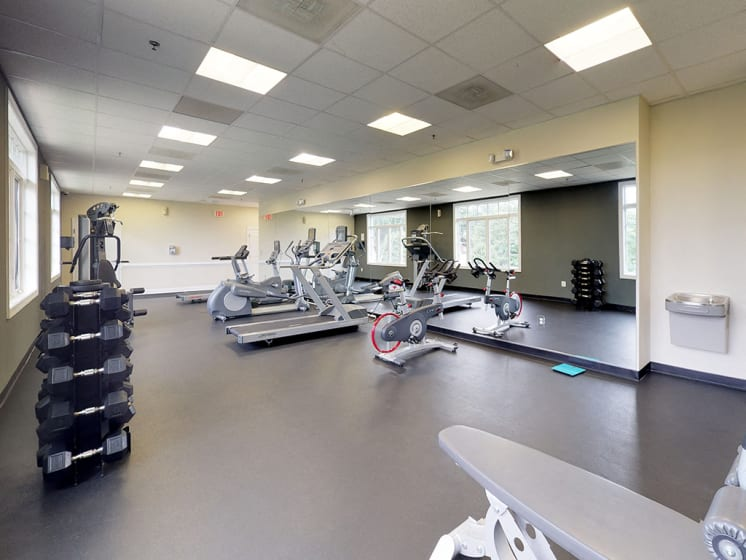 modern gym with equipment at Woodlee Terrace Apartments, Woodbridge