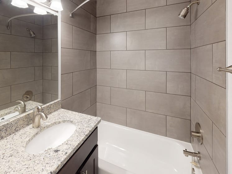 modern interior view of bathroom in apartment unit at Woodlee Terrace Apartments, Woodbridge, VA, 22192